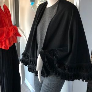 Vintage wool tassel cape